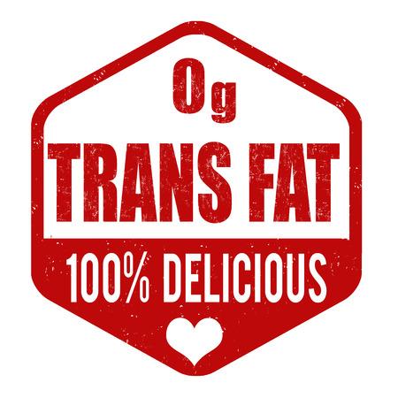 no cholesterol: Zerop grams trans fat grunge rubber stamp on white background, vector illustration
