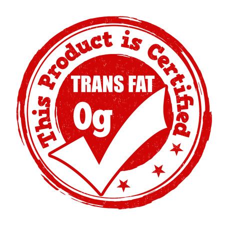 Trans fat zero grams grunge rubber stamp on white background, vector illustration
