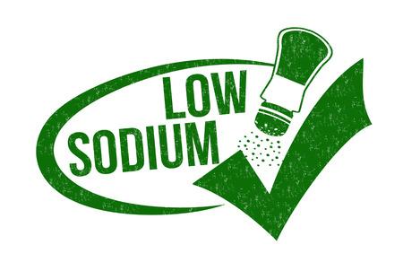 salt free: Low sodium grunge rubber stamp on white background Illustration