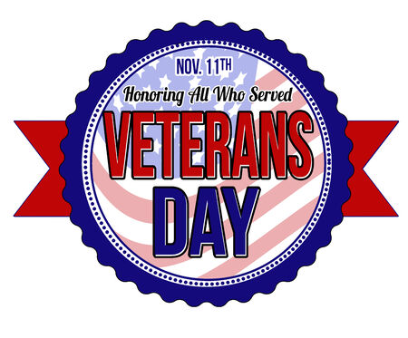 veterans: Veterans day label or seal on white background, vector illustration Stock Photo