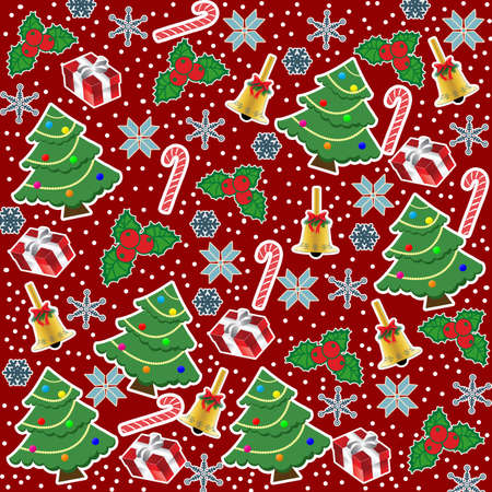 Colorful pattern with Christmas elements in square format suitable for wallpaper and fabric, vector illustration illustration