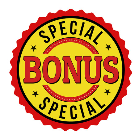 Special bonus label or stamp on white background, vector illustration