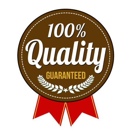 quality icon: Hundred percent quality guaranteed badge on white background, vector illustration