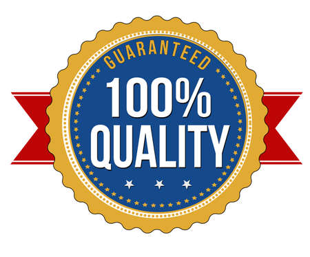 quality service: Hundred percent quality guaranteed badge on white background, vector illustration