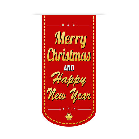 happy new year banner: Merry Christmas and Happy New Year banner design over a white background, vector illustration
