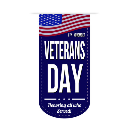 Veterans day banner design over a white background, vector illustration Illustration