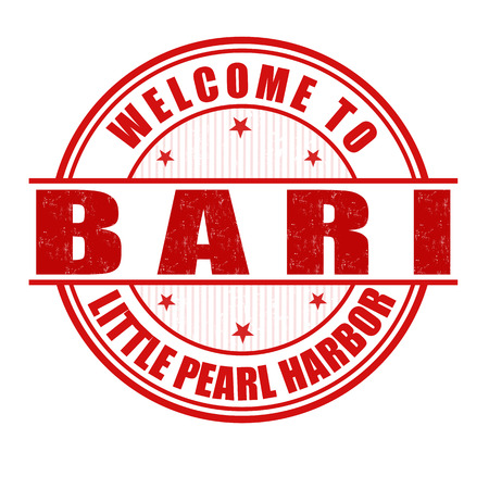 pearl harbor: Welcome to Bari grunge rubber stamp on white, vector illustration