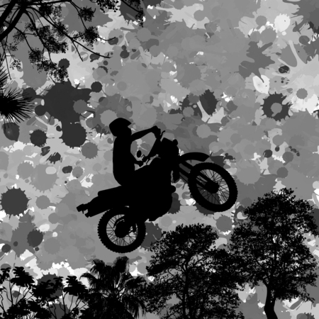 mx: Jumping motorcycle rider silhouette on splash grunge background, vector illustration
