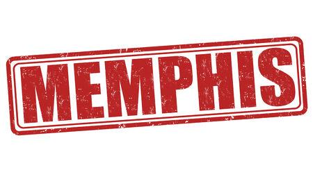 memphis: Memphis grunge rubber stamp on white background, vector illustration Illustration