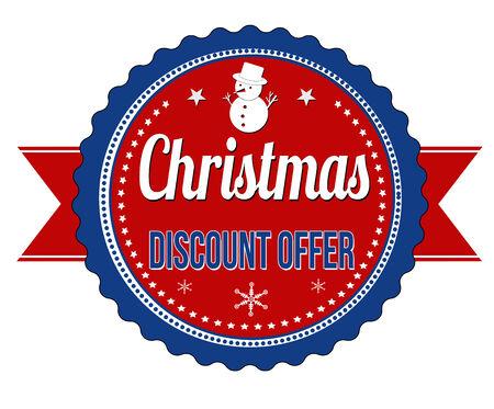 badge vector: Christmas discount offer badge on white background, vector illustration Illustration