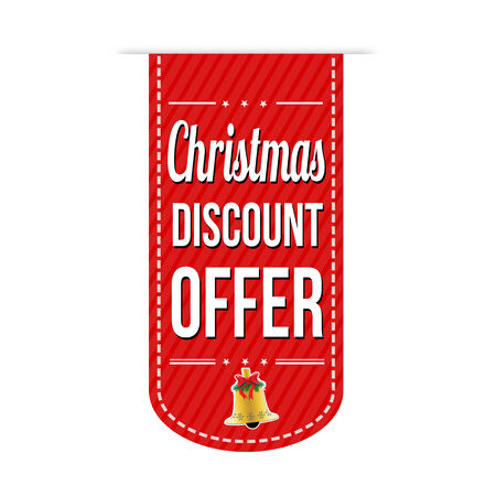 recommendations: Christmas discount offer banner design over a white background, vector illustration