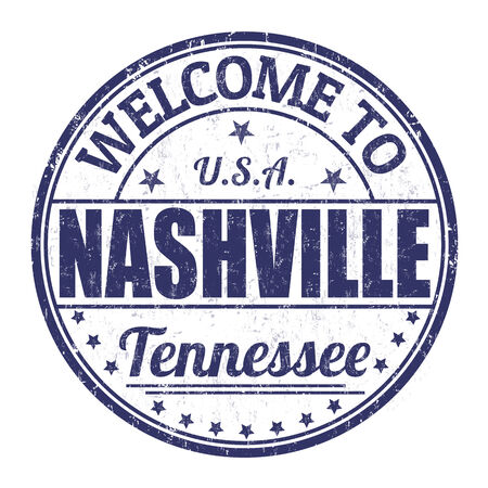 impress: Benvenuti a Nashville grunge timbro di gomma su sfondo bianco, illustrazione vettoriale Vettoriali