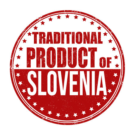 Traditional product of Slovenia grunge rubber stamp on white background, vector illustration