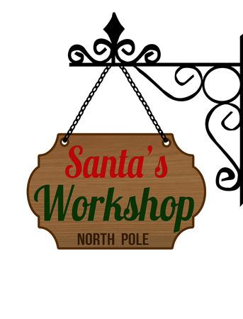 Elegant Santas Workshop sign on white background, vector illustration Illustration