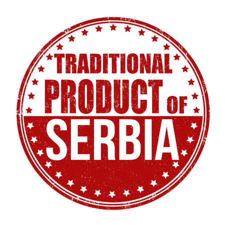 Traditional product of Serbia grunge rubber stamp on white background, vector illustration Illustration