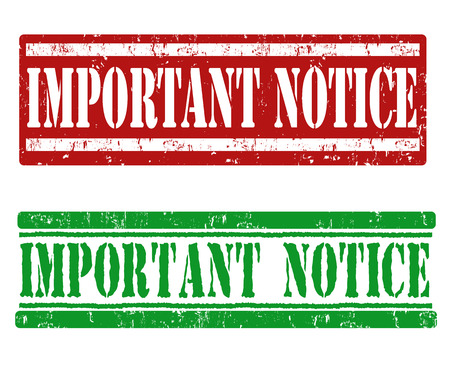 Important notice grunge rubber stamps on white, vector illustration