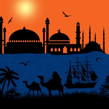 convoy: Carovana di cammelli al tramonto sulla spiaggia, illustrazione vettoriale