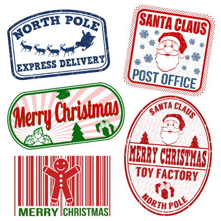 Set of isolated grunge Christmas stamps on white background, vector illustration Vector