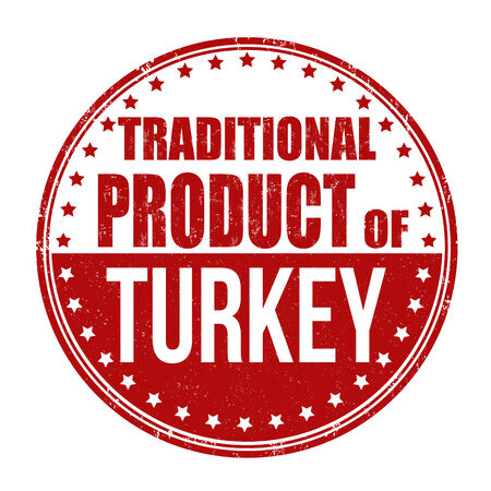 Traditional product of Turkey grunge rubber stamp on white background, vector illustration Vector