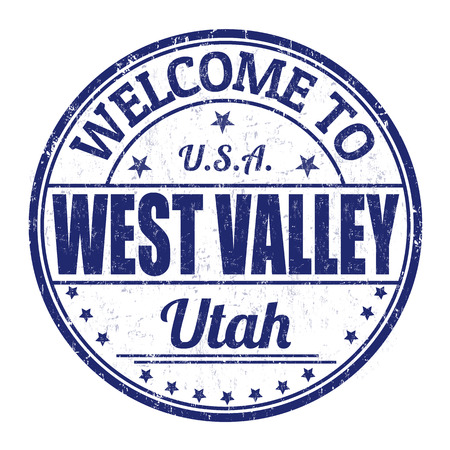 visit us: Welcome to West Valley grunge rubber stamp on white background, vector illustration
