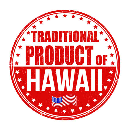 hawaii flag: Traditional product of Hawaii grunge rubber stamp on white background, vector illustration