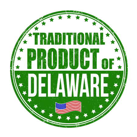 usa stamp: Traditional product of Delaware grunge rubber stamp on white background, vector illustration