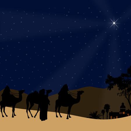 bethlehem: Classic three magic scene and shining star of Bethlehem, vector illustration