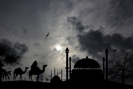bedouin: Bedouin camel caravan in arabian landscape on black and white illustration Illustration