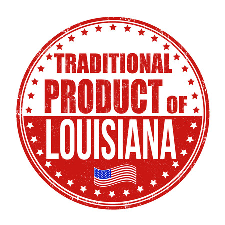 louisiana flag: Traditional product of Louisiana grunge rubber stamp on white background, vector illustration