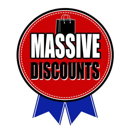 massive: Massive discounts badge on white background, vector illustration Illustration