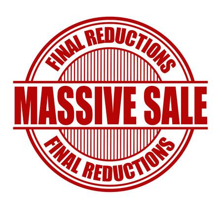 Massive Sale Grunge Rubber Stamp On White Vector Illustration Stock