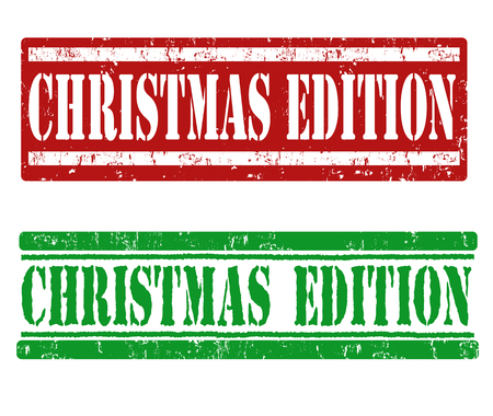 edition: Christmas edition grunge rubber stamps on white background, vector illustration