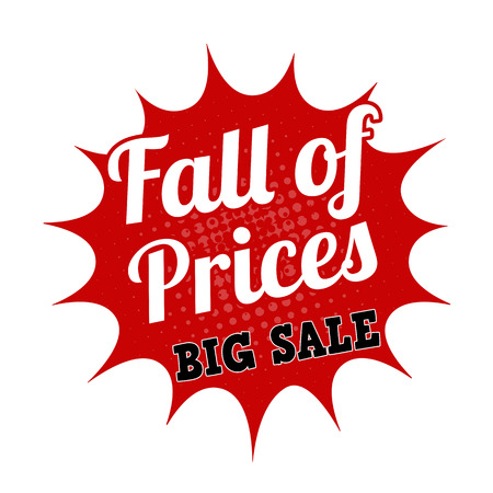 Falling prices big sale grunge rubber stamp on white, vector illustration Vector