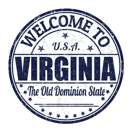 visit us: Welcome to Virginia grunge rubber stamp on white background, vector illustration