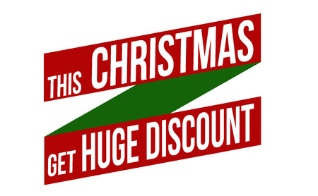 recommendations: This Christmas get huge discount banner design over a white background, vector illustration