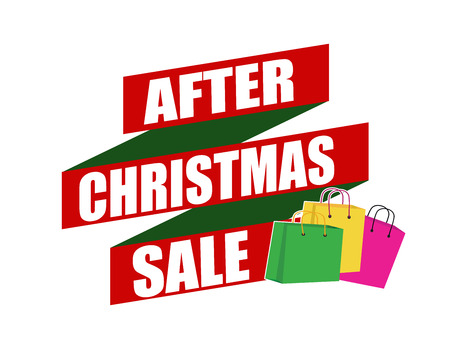 recommendations: After Christmas sale banner design over a white background, vector illustration Illustration