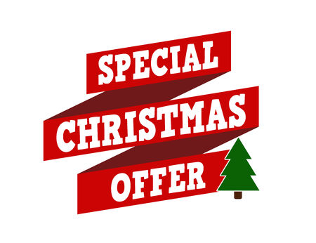 recommendations: Special Christmas offer banner design over a white background, vector illustration