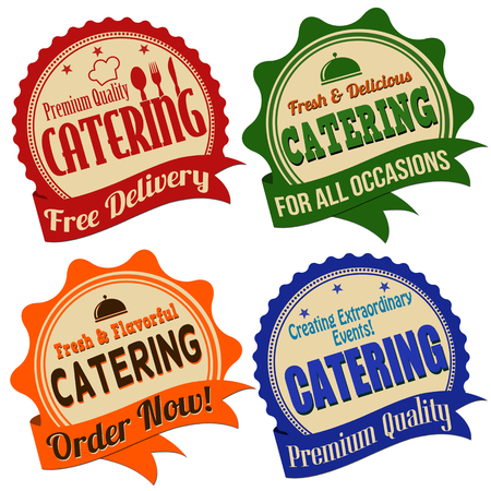 Promotional label, sticker or stamps for catering on white, vector illustration Illustration