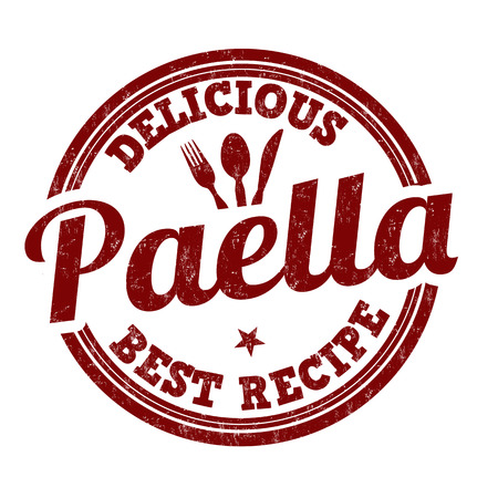 Paella grunge rubber stamp on white background, vector illustration Illustration