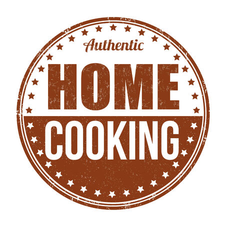 Home cooking grunge rubber stamp on white background, vector illustration Vector