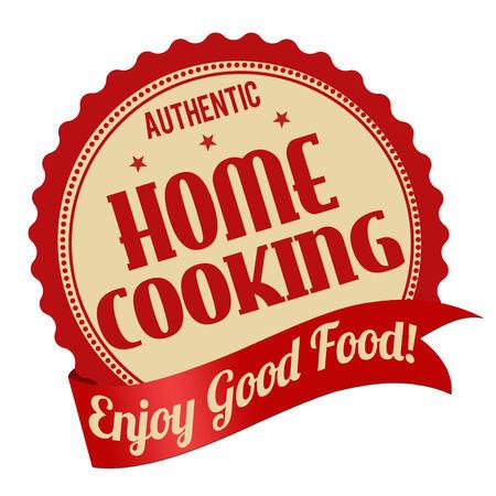 Accueil étiquette de cuisson ou timbre sur fond blanc, illustration vectorielle