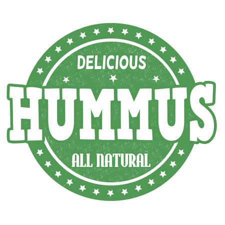 middle eastern food: Hummus grunge rubber stamp on white background, vector illustration