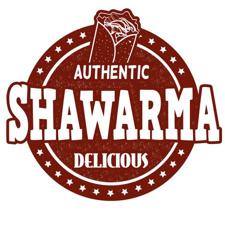 seasoned: Shawarma grunge rubber stamp on white background, vector illustration Illustration