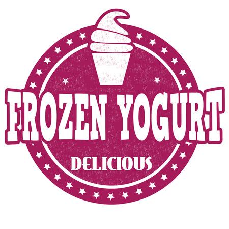 frozen yogurt: Frozen yogurt grunge rubber stamp on white background, vector illustration