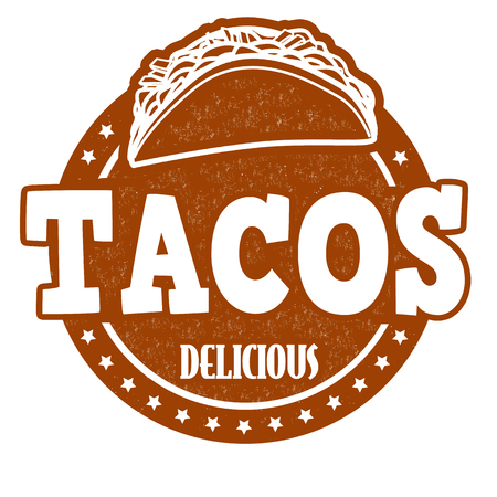 Tacos grunge rubber stamp on white background, vector illustration Vector