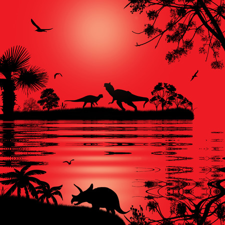 mesozoic: Dinosaurs silhouettes in beautiful landscape at red sunset near water, vector illustration