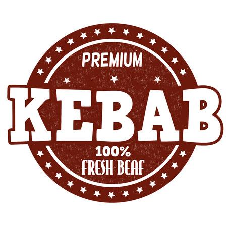 kebab: Kebab grunge rubber stamp on white background, vector illustration