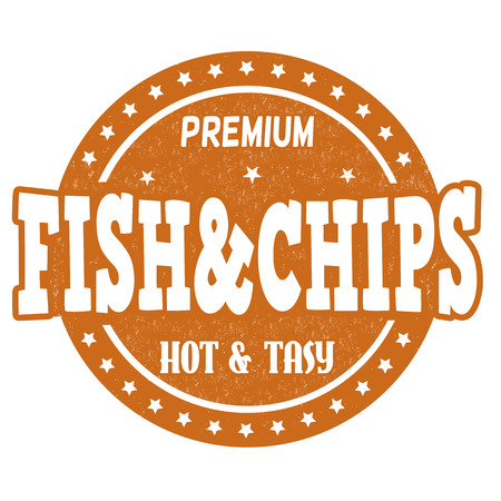 fish and chips: Fish and chips grunge rubber stempel op een witte achtergrond, vector illustratie