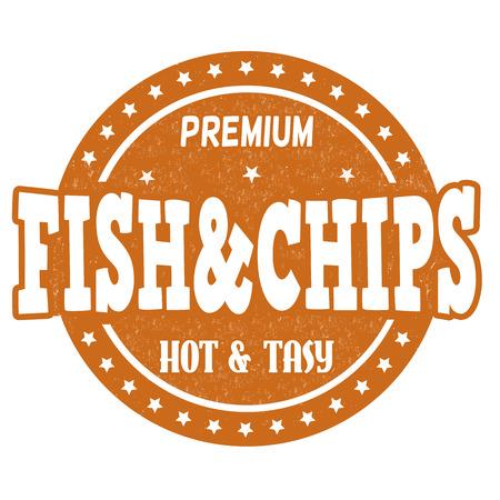 fish and chips: Pescado y patatas fritas grunge sello de goma en el fondo blanco, ilustración vectorial