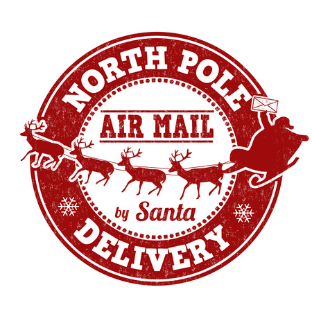 reno navide�o: Polo Norte sello de goma del grunge de entrega sobre fondo blanco, ilustraci�n vectorial Vectores